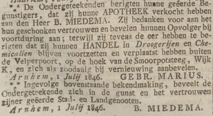 Smoorpotsteeg Opregte Haarlemsche Courant 1846