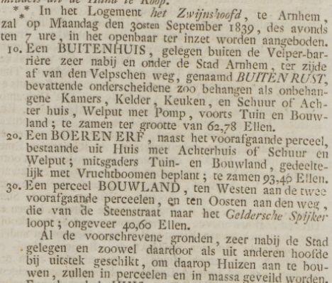 Steenstraat Buitenrust Opregte Haarlemsche Courant 1839
