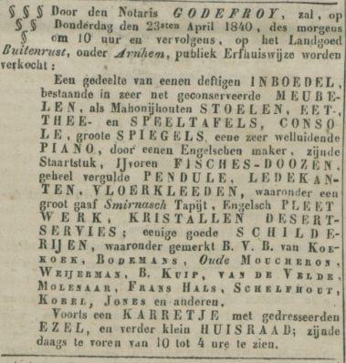 Steenstraat Buitenrust Opregte Haarlemsche Courant 1840